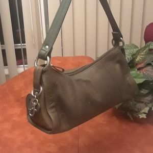 Apostrophe Army green soft-hide Leather purse